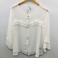 LC Lauren Conrad Womens Size Large Dressed to Frill Sheer Blouse Ivory $44 738