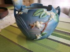 Roseville Pottery, Double handled snowberry jardiniere vase, blue IRB-5