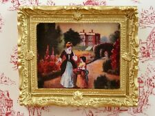 Decorado Oro Foto Enmarcada de una mansión, muñeca casa miniatura. 1.12 Th Scale