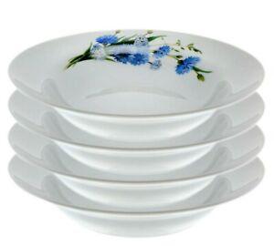 Set of 4 Porcelain Soup Plates by Dobrush, Belarus, Cornflowers Pattern 24 cm