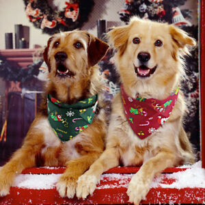 Soft Cotton Pet Dog Bandana Collar Christmas Snowflake Xmas Neckerchief Scarf