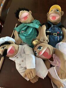 Melissa & Doug Puppet Lot Of 4 Chef, Ballerina, Construction Worker, Hospital Wo