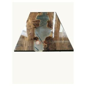 Luxury Custom Order Acacia Wood Epoxy Clear Resin Dining Table Top Living Decor