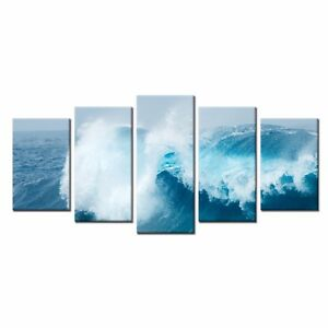 Home Decor Canvas Print Painting Wall Art Waves Picture Canvas Art 5pcs No Frame