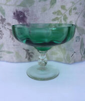 Vintage Glass Bowl Emerald Green. BonBon Dish, Decorative. Twisted Stem 12x14 Cm