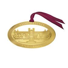 FSU FLORIDA STATE UNIVERSITY SEMINOLES GOLD BRASS ETCHED CUSTOM ORNAMENT