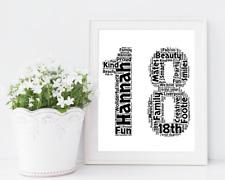 18Th Birthday Gift! Personalised Word Art / Cloud Print