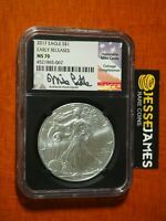 2017 SILVER EAGLE NGC MS70 MIKE CASTLE SIGNED EARLY RELEASES BLACK RETRO CORE