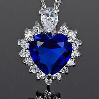 Damen Schmuck 18K Weissgold Vergoldet Herz Blau Saphir Anhaenger Halskette