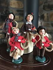 "Lot 4 Vintage Byers Choice Victorian Carolers Family 13"" & 10"" Bn81"