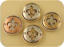 2 Hole Beads Fleur de Lis Shadowbox Circles 3T Silver Copper Gold ~Sliders QTY 4