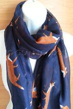 Navy Blue Fox Print Scarf Brown Animal Fashion Womens Oversize Wrap UK Seller