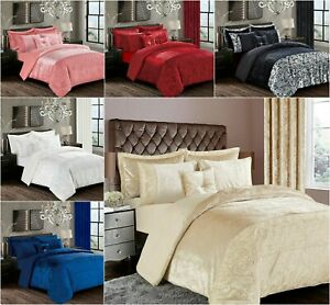 Crushed Velvet 3 Piece Duvet/Quilt Cover Set Filled Cushion / Covers Small Large