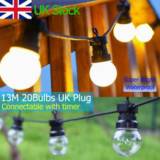 43ft Waterproof LED Globe String Festoon Light Bulb Mains Powered Outdoor Garden