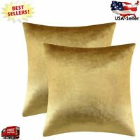 Gold Velvet Decorative Throw Pillow Covers Cases for Sofa Bed 2 Pack Soft Cushio
