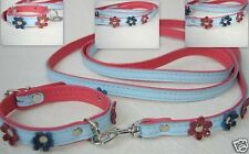 HUNDELEINE(130cm)+ Halsband (Halsumfang 21-27) mit Blumchen, Leder  Blau-Pink