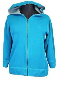 Caribbean Joe Women's Large Azure Blue & Gray Reversible Zip Hoodie Sweatshirt