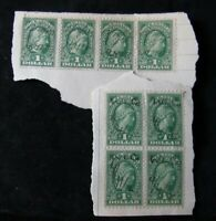Set of 8 Scott R217 1914 $1 Documentary Revenue Stamp - Pen Canceled - Affixed