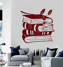 Vinyl Wall Decal Books Rose Reading Room Bookworm Library Stickers (ig4688)
