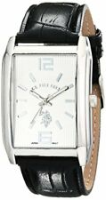 U.S. Polo Assn. Classic Mens Silver-Tone Watch W/ Embossed Black Band