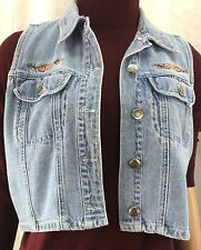 At Last & Co Classic Blues Collection Jean Vest With Floral Design Women's  M