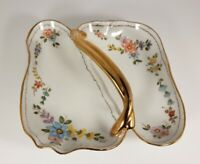 Vtg Hand Painted Floral Divided Candy Nut Dish Gold Handle Signed Anita Blair