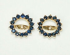 18k Yellow Gold & .50ct Sapphire Earring Jacket Halo Stud - NICE!