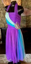 Vintage Emma Domb Formal Prom Dress Evening Sequined Detail Purple Aqua & Green