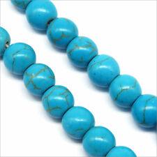 Lot de 30 Perles Pierres Naturelles Turquoise Bleue 8mm