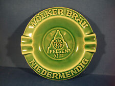 Rare - German - Wölker Bräu Niedermendig Green Ceramic Ashtray - Breweriana