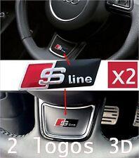 2 Logo Sline AUDI pour Volant Sticker 3D adhésif 3M Habitacle Alu Noir S Line