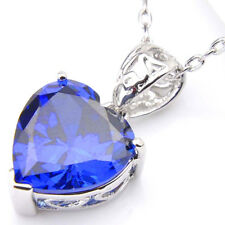 New ! Love Heart Swiss Blue Topaz Gemstone Silver Necklace Pendant With Chain
