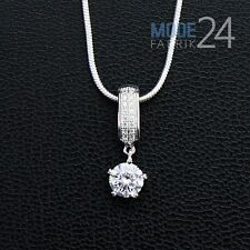 Damen Halskette echt 925 Sterling Silber Zirkon Collier 0.9Karat Brilliantschlif