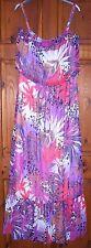 ladies maxi dress size 12 pink purple vibrant chiffon fuly lined strappy maxi