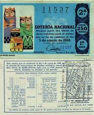 Año 1966. 250 Pts.  Nº 11537. Décima parte del billete. 5 de Enero. Sorteo  Nº 1