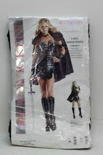 NEW BE WICKED Ladies Black 6 Piece Warrior Princess Fancy Dress Costume S/M
