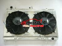 52MM FOR Nissan Silvia 180SX S13 SR20DET MT aluminum Radiator + shroud + 2xFans