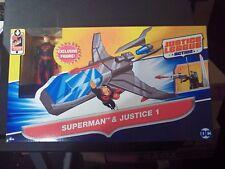 """Batman Justice League Action """"Superman"""" (BLACK SUIT) And Justice 1 Vehicle"""