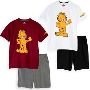 Garfield Cat Mens 100% Cotton Pyjamas Shorts Loungewear Pjs Set M-XXL