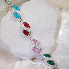 "10Ct Emerald Ruby Pink Sapphire Blue White Topaz Silver Bracelet 7"" Gbr247"