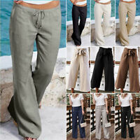 Women Cotton Linen Wide Leg Harem Pants Casual Beach Loose Palazzo Long Trousers