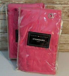 2 Tommy Hilfiger Standard Shams Classics Chino Collection Grommet Bright Pink