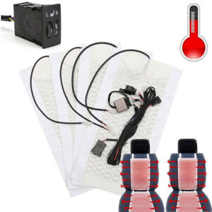 2-Seats Carbon Fiber Car heating pads Kit Butt Back Heater Dual 5-gear Switch