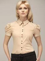 Chemisette chemise Beige Femme Manches courtes Al11 tailles 36 38 40 42 44