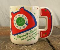 """Rotary Dial Telephone """"Friends Have A Good Connection"""" Coffee Mug Tea Cup - Avon"""