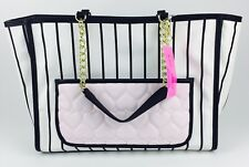 NWT Betsey Johnson Black and White Stripe Tote W/O Pull Out Cat Pouch Quilted