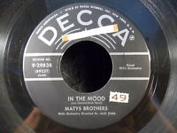 """In The Mood/Up The Creek by Matys Brothers (Decca 9-29838) 7"""" 45 VG"""