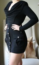 BALMAIN COWL NECK BLACK MILITARY DRESS FR 36 UK 8