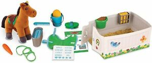 Horse Care Play Set Feed & Groom Toy Animal 3+ Years Melissa and Doug