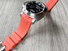 RED Panerai 44mm Luminor Case 24mm Curved Vulcanized Rubber Watch Strap